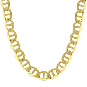 "14K Solid Yellow Gold Chain Flat Mariner Gucci Necklace  1.5mm-7.7mm 16""-24"""