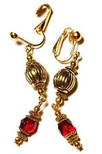 Drop Dangle Classy Faceted Glass Beads Long Gold Ruby Red Clip-On Earrings