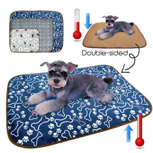 Dog Cooling Mat Small Medium Large Pet Cat Fleece Bed Pad for Kennels Crates S-L