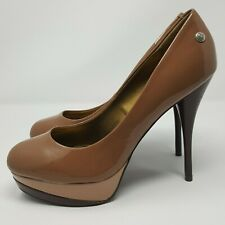 BLINK Ladies Stiletto Heels UK 7 Coffee Shades Patent Platform Glamour High Sexy