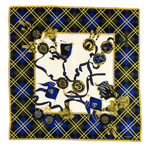 BASLER CHECK BRIDLE FLAG BLUE LARGE silk Scarf  35 in #A109
