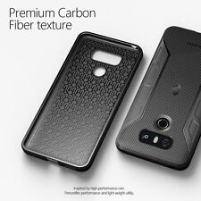 For LG G6 Poetic Karbon Series Shockproof Case With Anti-Slip Side Grip Black