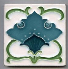 """Relief moulded 3""""sq Art Nouveau tile by Campbell Tile Co, c1927"""