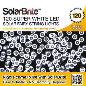 Solar Brite Waterproof Solar String Fairy Lights 120 Super Bright White LED