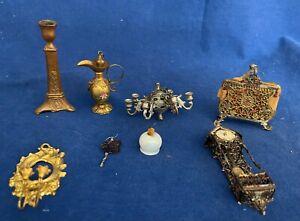 Antique Miniature Dollhouse Metal Decorative Accessories 8 pcs