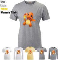 Pokemon Charmander Charizard Pikachu Print T-Shirt Womens Girls Graphic Tee Tops
