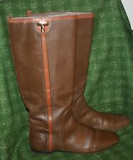 Tory Burch Erica Chocolate Brown Leather Tall Boots Size 10.5 US