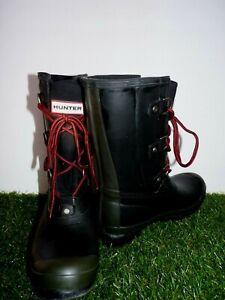 Hunter Sascha Lace Up Combat Rain Boots Black Green Women's 8