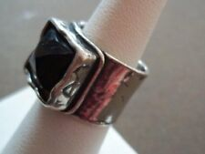 Silpada Sterling Silver Smoky Quartz Ring Size 5.5 .925 Square Modern Wide Band