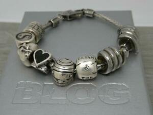Unisex Sterling Silver Aagaard Blog Danish Charm Bracelet with 8 charms, Men's