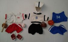 "Lot Teddy Bear Doll Clothes Sports Accessories Baseball Football 12"" Bear Wear"