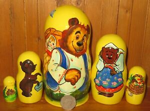 Goldilocks & three bears Slight Seconds Matryoshka nesting dolls 5 Fairy tale