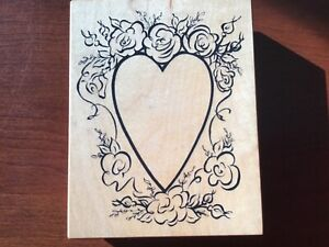 Valentine's Day-Wedding-HEART WITH FLOWERS Large Rubber Stamp - PSX  K-2222