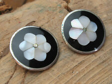alpaca silver onyx and mother of pearl circular clip on earrings