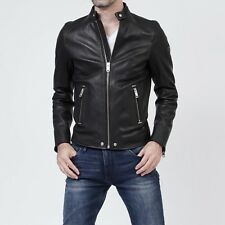 DIESEL L-ROSHI BLACK LEATHER JACKET SIZE S 100% AUTHENTIC