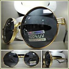 Mens or Women CLASSIC VINTAGE RETRO Style SUN GLASSES Round Gold Frame Dark Lens