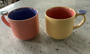 New Lindt Stymeist Colorways Thumbprint Handle Mugs, Set Of 2, Salmon And Yellow