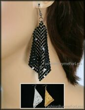 70S' Retro Rockabilly Fashion Jewelry Nets Square Sequin Silver Studded Earrings
