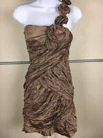 BCBG Maxazria Women's Brown Fancy Rose Knee High One Shoulder Dress Size 12 US