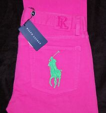 Ralph Lauren BIG PONY Jeans NEW Bright Pink Green $245 Size 30 #14