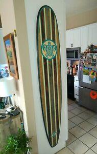 Gorgeous Wood Surfboard Wall Art Turqouise Hawaiian Decor Surfing California