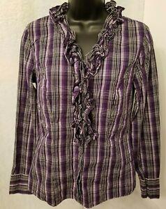 Worthington Womens Purple Black White Plaid Button Down Shirt Top Blouse Size S
