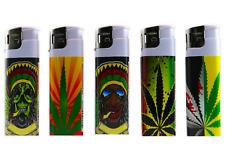 5 Rasta Full Size NEON Electronic Disposable Cigarette Lighters, All Purpose