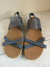 Skechers Luxe Foam Gray Blue Women's Slingback Strappy Sandal Shoes 11 EU 41