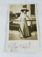 Vintage Real Photo Post Card Pretty Lady At The Capitol 1910 Colorado 1c Stamp