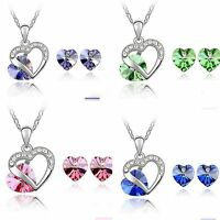 Schmuckset Set Kette + Ohrringe Herz Silber Blau Rosa Gruen Pink  Strass Neu