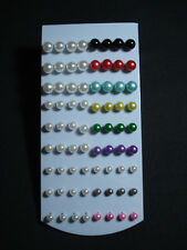 stock 36 coppie mini orecchini perla colore e bianca 6 8 10 mm micro bigiotteria