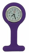 Silicone Nurses Brooch Tunic Fob Watch New With FREE BATTERY (12 - Dark Purple)