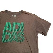 Men's Vintage Adidas Large Green Logo Short Sleeve T-Shirt Grey XL