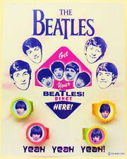 Rare Beatles Pop On Vending Rings On Header Card Never Seen Before!