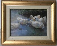Antique Oil painting FRENCH IMPRESSIONIST PAINTING Ducks at the pond signed