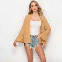 Women Chiffon Cardigan Short Beach Sunscreen Coat Top Long Sleeve Jacket Blouse