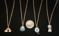 4 necklaces 14 in stainless steel Kitty cats, ladybug, rainbow L10