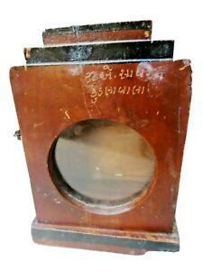 Vintage round glass miniature display showcase original watch holder Wooden box