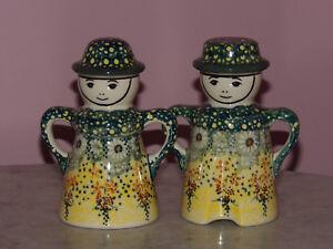 Polish Pottery Man & Woman S&P Set! UNIKAT Signature Exclusive Miss Daisy!
