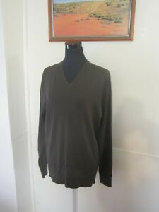 SABA Butter Soft Fine Merino Wool Olive Green Unisex Jumper Sweater XL EUC