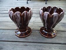 Pair Mid Century Vintage Retro 1960's Ceramic Brown Drip Planters Tulip Ruffled