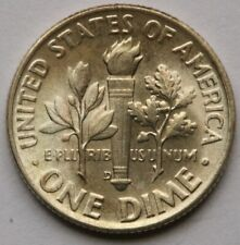 1953 D Roosevelt Dime in 90% Silver Gem BU Toned FSB Full Split Bands US Coin