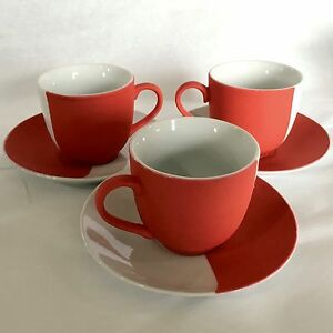 3 Sigma Red Silicone White Demitasse Espresso Coffee Tea Cups & Saucers Modern