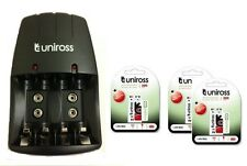 UNiROSS AA/AAA/PP3 9v CHARGER 3 x PP3 200 SERIES HYBRIO