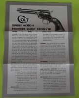 Colt Single Action Frontier Scout Revolver Owners Guide Manual, tri fold, 2 page