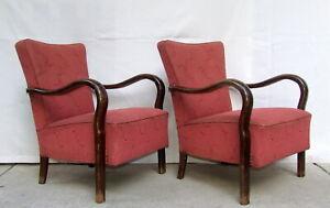 Pair of Art Deco Armchairs. Club Cocktail Chairs. Antique Vintage 1920 Halabala.