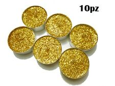 ds Set 10 Pezzi Candele Dorate Glitter Tealight Lumini Decorazione Natale dfh