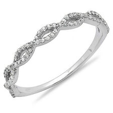 14K White Gold Diamond Anniversary Wedding Band Stackable Ring 1/5 CT Size 6