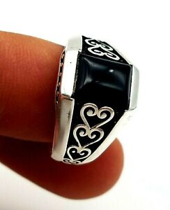 Mens 925 Sterling Silver Ring Size 10.5 Handmade BLACK ONYX