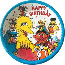 SESAME STREET Big Bird Birthday SMALL PAPER PLATES (8) ~ Party Supplies Cake